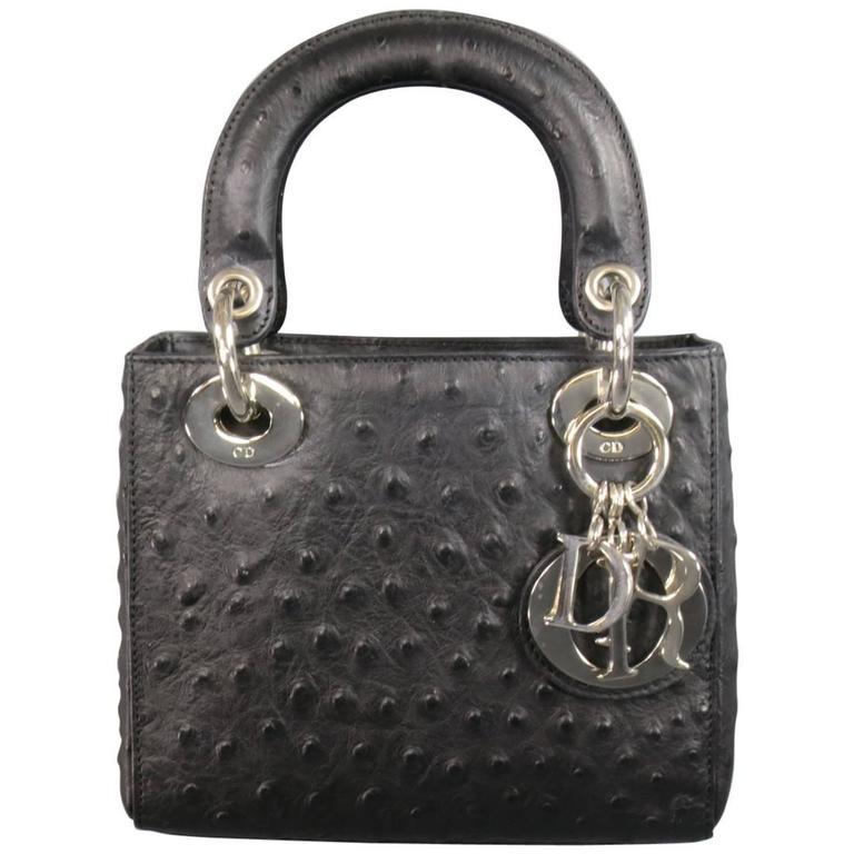 77b6ab68f28a CHRISTIAN DIOR Black Ostrich leather Mini Lady Dior Shoulder Strap Bag For  Sale