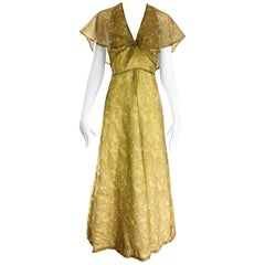 1970s Boho Chic Yellow + Chartreuse Green Daisy Flower Print Chiffon Maxi Dress
