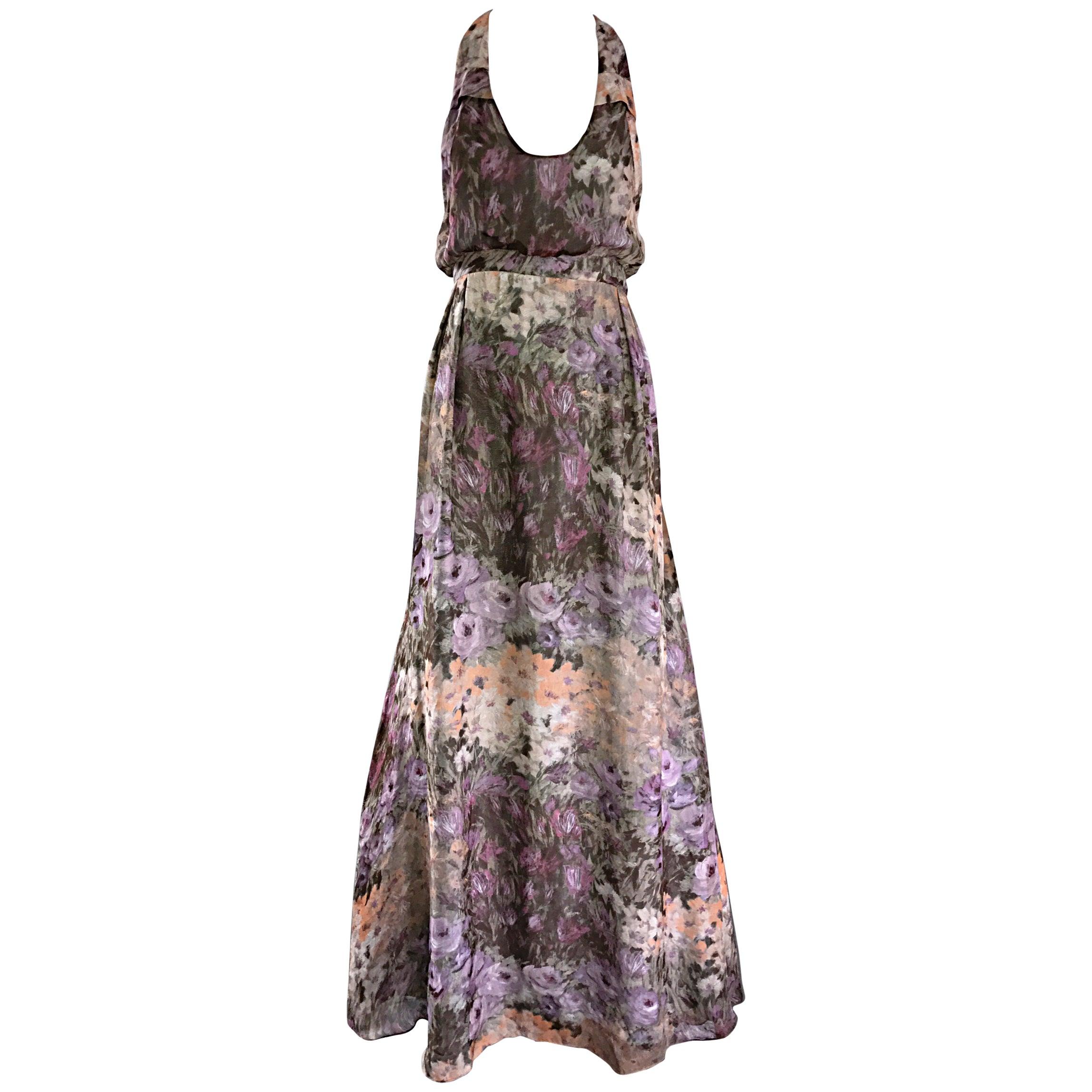 Lerario Beatriz Size 8 Silk Purple Pink Grey Watercolor Racerback Maxi Dress
