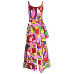 Amazing 1970s Colorful Tropical Print Vintage 70s Pink Cotton Jumpsuit w/ Sash