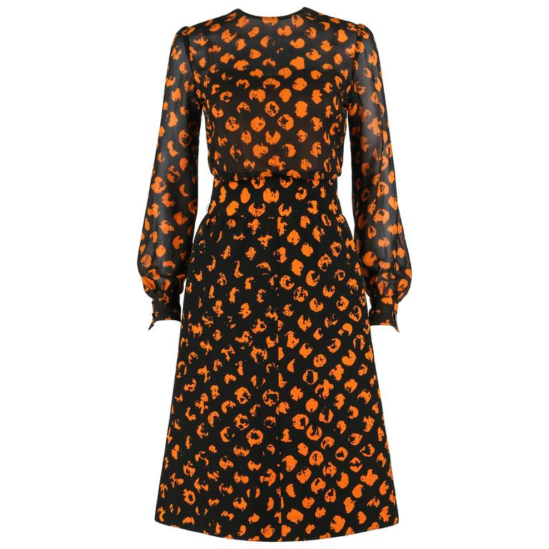 CHRISTIAN DIOR A/W 1972 Marc Bohan 2 Pc Black Orange Polkadot Blouse Skirt Set
