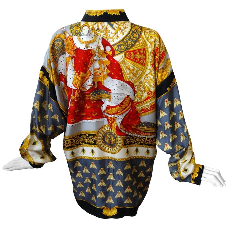 """1990s Gianni Versace """"Imperial Throne """" Print Silk Blouse For Sale"""