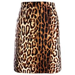 Celine by Michael Kors 1990s Leopard Print High Waisted 90s Mini Pencil Skirt 42