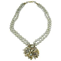 Vintage 1950s Signed Miriam Haskell Gray 2-Strand Faux Baroque Pearl Necklace