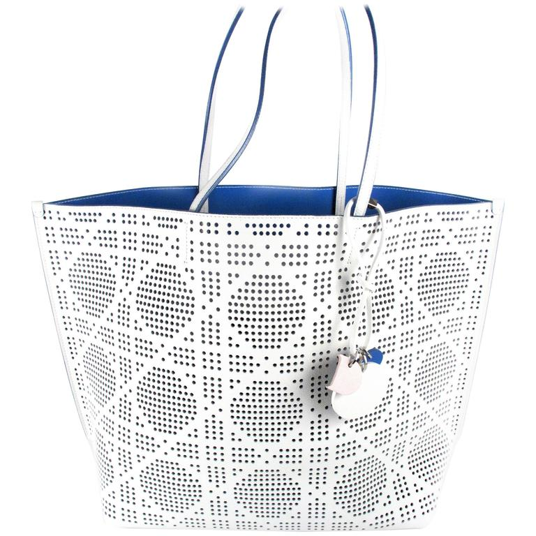 Dior 2015 Large White Perforated Leather Tote Bag Diorva