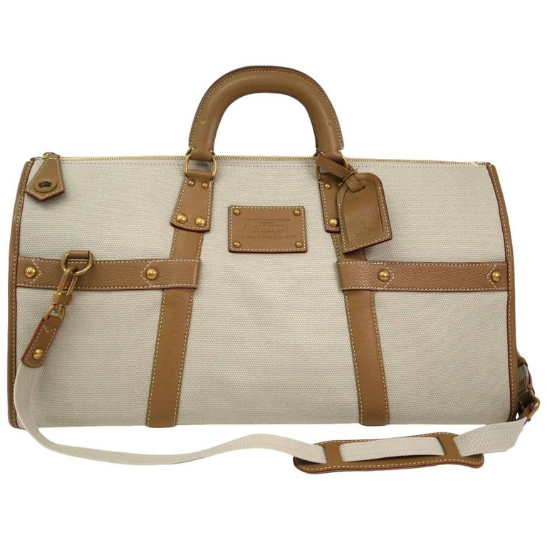 Louis Vuitton Tan Canvas Cognac Leather Men S Unisex Duffle