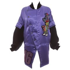 Kansai Yamamoto Purple Satin Jacket With Appliquéd Patches, Circa 1980's
