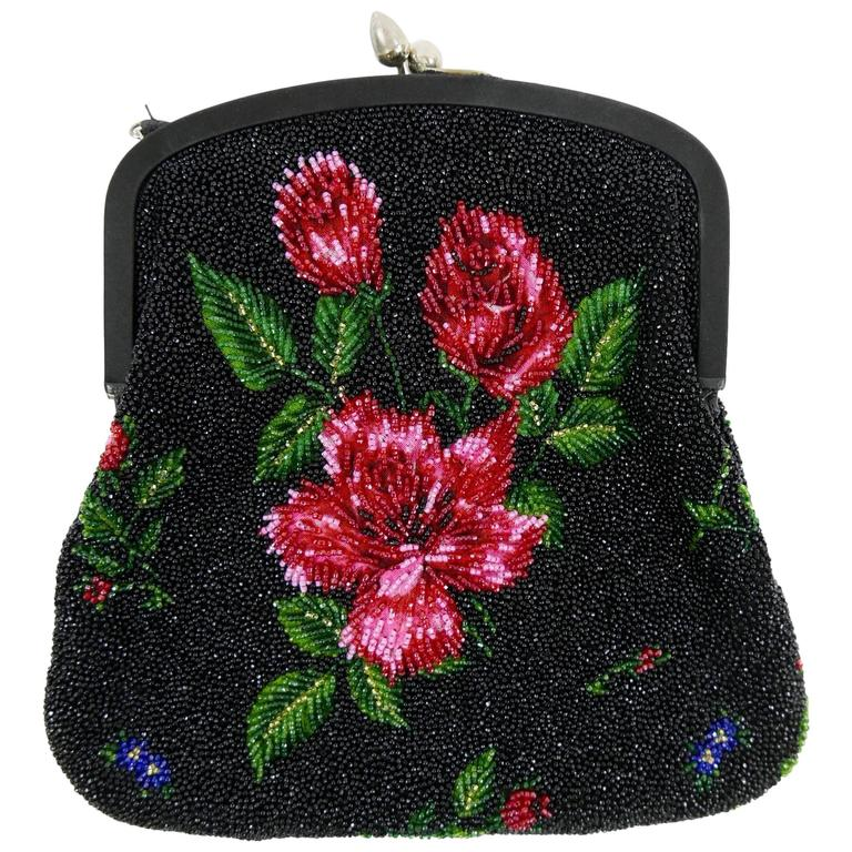1950s PIROVANO Italian Couture Floral Embroidered Beadeds Purse Handbag For Sale