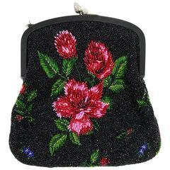 1950s PIROVANO Italian Couture Floral Embroidered Beadeds Purse Handbag
