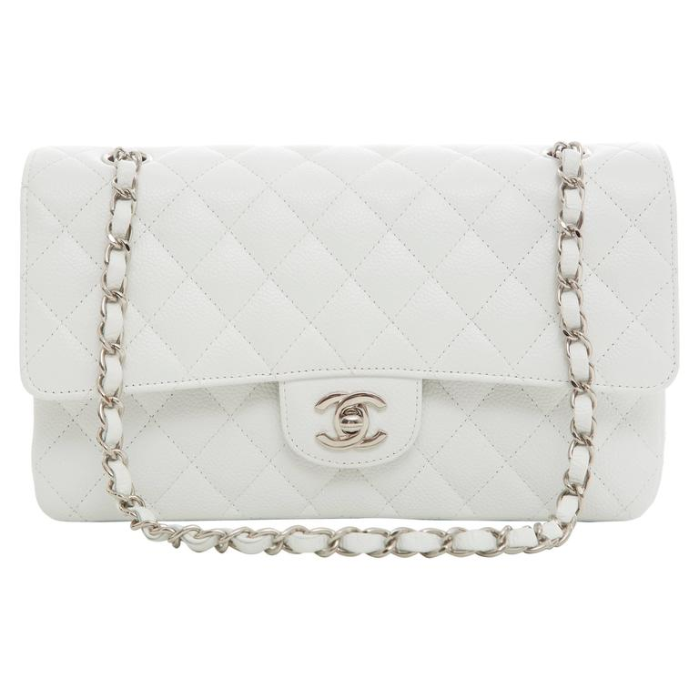 47cc638d3715 Chanel White Quilted Caviar Medium Double Flap Bag