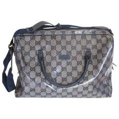 Gucci Coated Monogram Blue Travel Bag