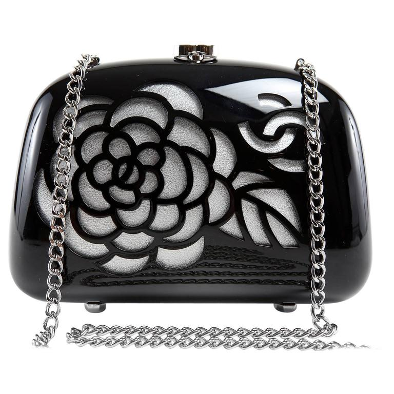 Chanel Black Resin Camellia Clutch 1