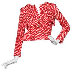 An Incredible  Red & White Cropped Chanel Blazer