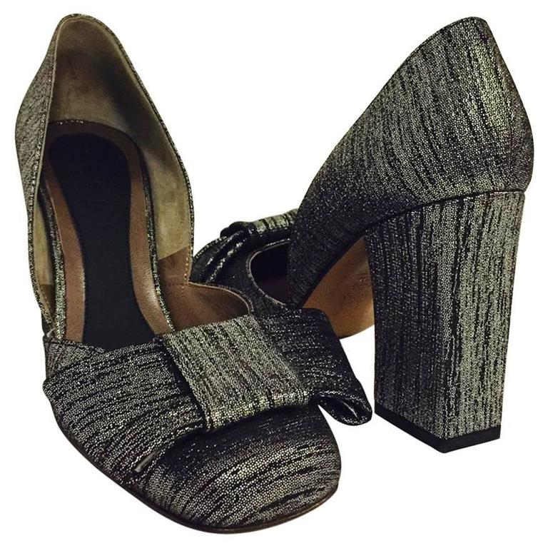 Marni New Black and Silver Metallic Suede Evening Pumps With Bow