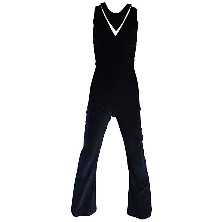1970s Black Fine Corduroy Space Age Cut - Out Flared Leg 70s Jumpsuit Catsuit
