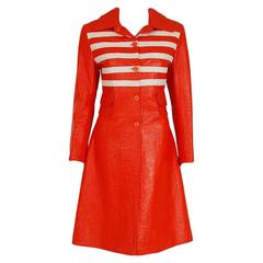 1968 Louis Feraud Orange & White Striped Vinyl Mod Space-Age Trench Coat Jacket