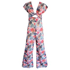 Amazing 1970s Vintage Cut - Out Waist 70s Abstract Wrap Flared Leg Jumpsuit