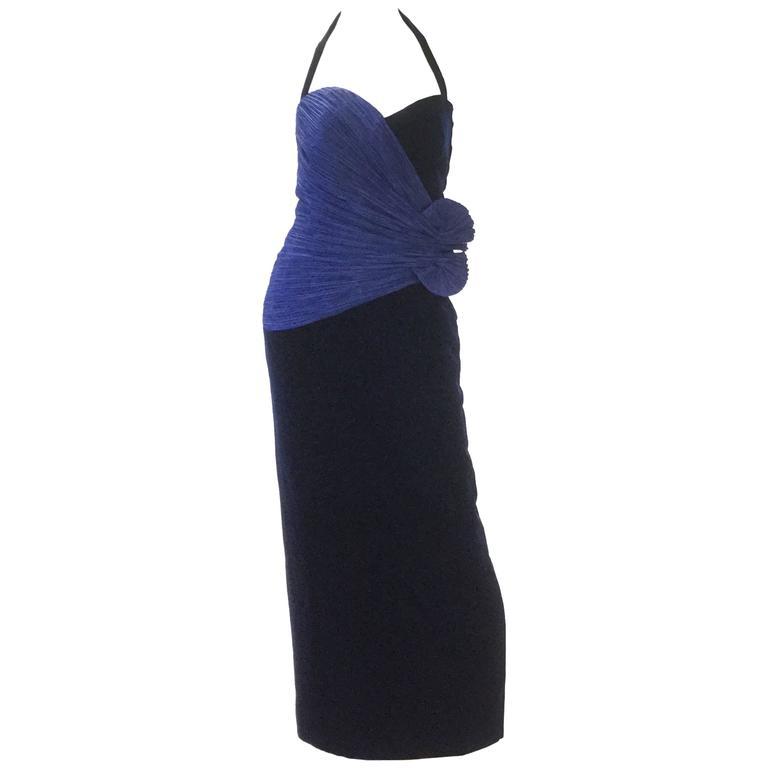 1980s Murray Arbeid Signature Blue Taffeta and Black Velvet Evening Gown