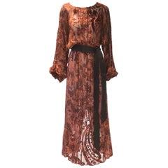 Burnt Golden Brown Silk Burn Out Vintage Velvet Long dress, 1970s