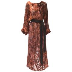 Burnt Golden Brown Silk Burn Out Vintage Velvet Long dress, 1970s