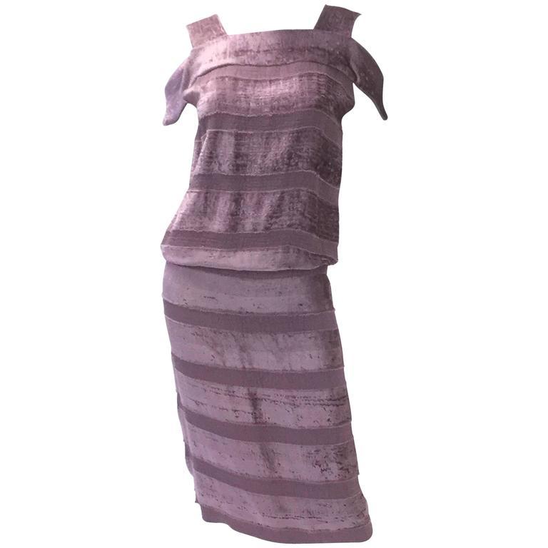 Vintage Bottega Veneta Italian Violet Velvet Dress For Sale