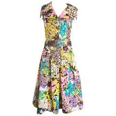 Tori Richard 1960s Flower Printed Vintage Hawaiian 60s Belted Shirt Dress