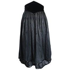 Valentino Beautiful Vintage Black Silk Chiffon ' Leaf ' Motif Sequin Skirt