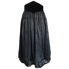 Valentino Beautiful Vintage Black Silk Chiffon ' Leaf ' Motif Sequin Skirt
