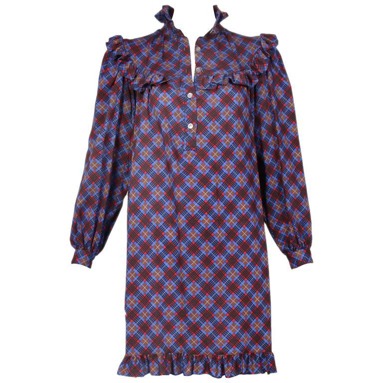 e9c1c277010 1970  39 s Yves Saint Laurent YSL Plaid Bib Dress w Ruffle Trim