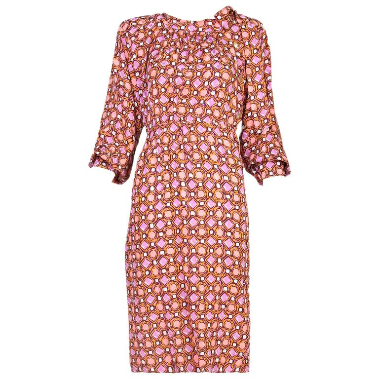 1984 Yves Saint Laurent YSL Silk Day Dress w/Geometric Print  For Sale