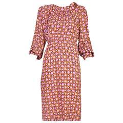 1984 Yves Saint Laurent YSL Silk Day Dress w/Geometric Print