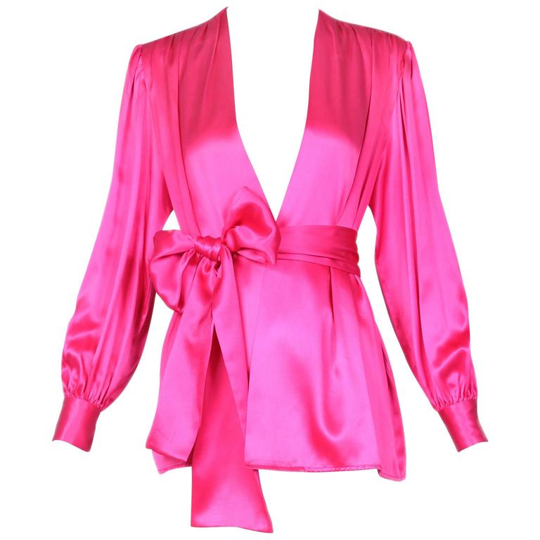 1970's Yves Saint Laurent YSL Hot Pink Silk Blouse W/Matching Sash For Sale