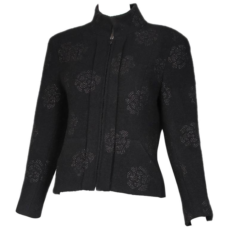 2003 Chanel Black Wool Boucle Jacket w/Camellia Print For Sale