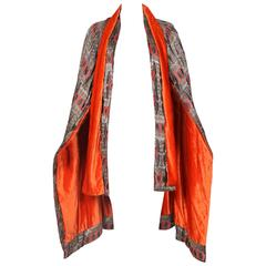 1920's Paul Poiret Inspired Geometric Print Cape w/Orange Velvet Interior