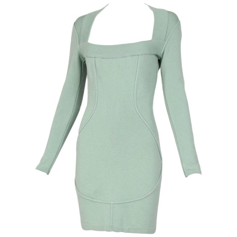 Vintage Alaia Pale Green Bodycon Long Sleeved Mini Dress 1