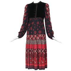 Victor Costa Peasant Dress W/Velvet Bodice & Multi-Patterned Print