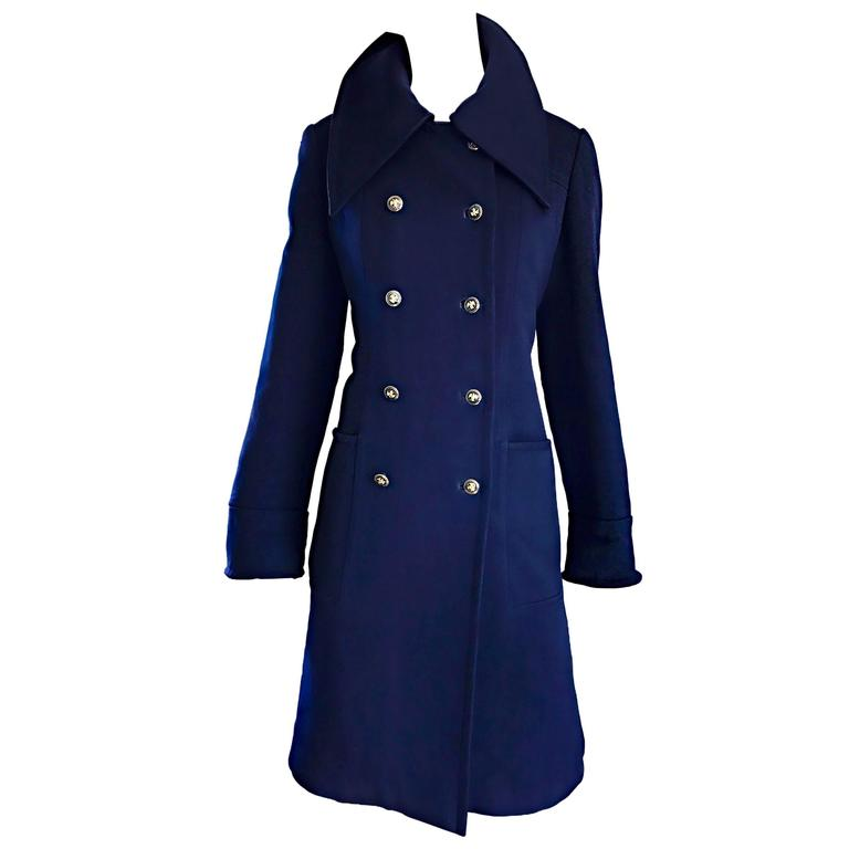 1970s SAKS 5th AVENUE Navy Blue Double Breasted Long Wool Peacoat Jacket Coat 1