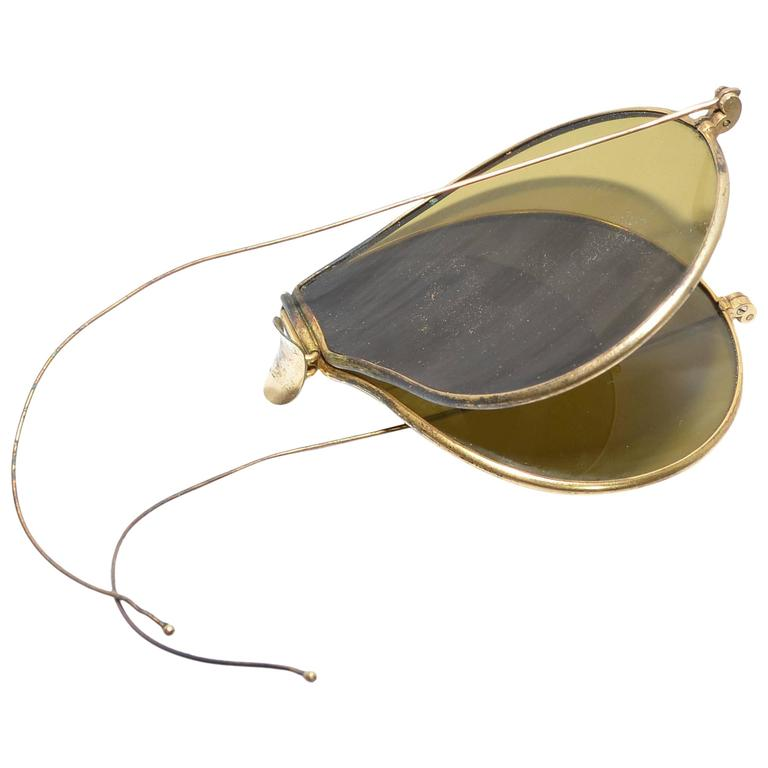 Leyne Vintage 1940's Aviator Flat Lens Folding Sunglasses