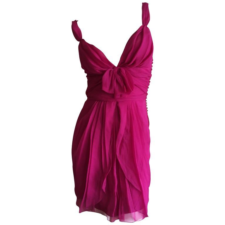 Christian Dior by John Galliano Raspberry Silk Chiffon Tunic or Mini Dress For Sale
