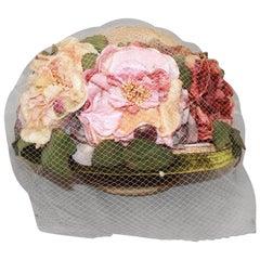 Kokin New York Flower Veiled Hat - circa 1980s