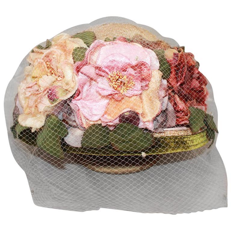 Kokin New York Flower Veiled Hat - circa 1980s For Sale