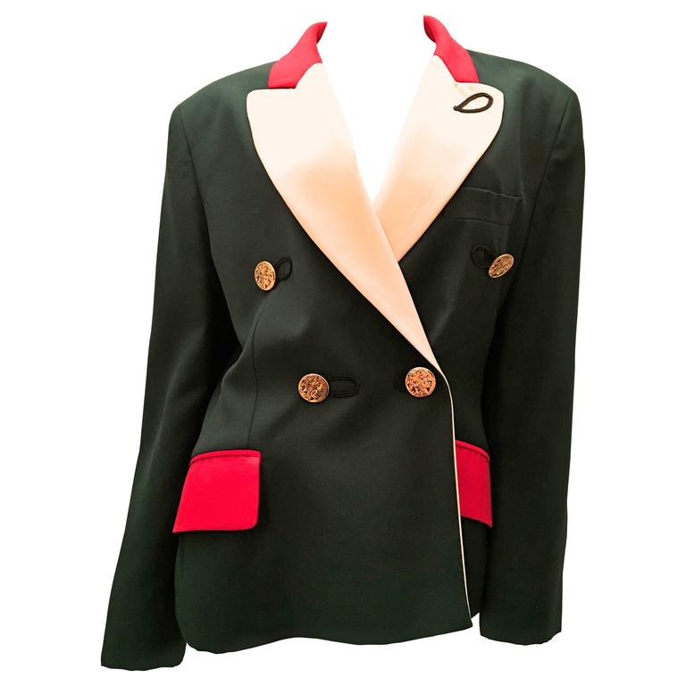 Moschino Blazer - Green, Red, and Cream 1
