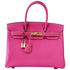 Hermes Birkin 30 Bag Rose Tyrien Chevre Horseshoe Limited Edition Gold Hardware