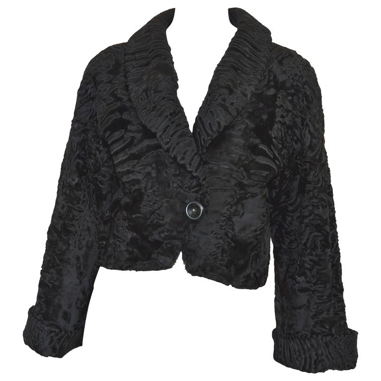 Christian Dior Boutique Broadtail Fur Cropped Jacket