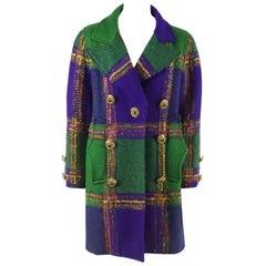 Christian Lacroix Green & Purple Color Block Wool Tweed Vintage 3/4 Coat - 38