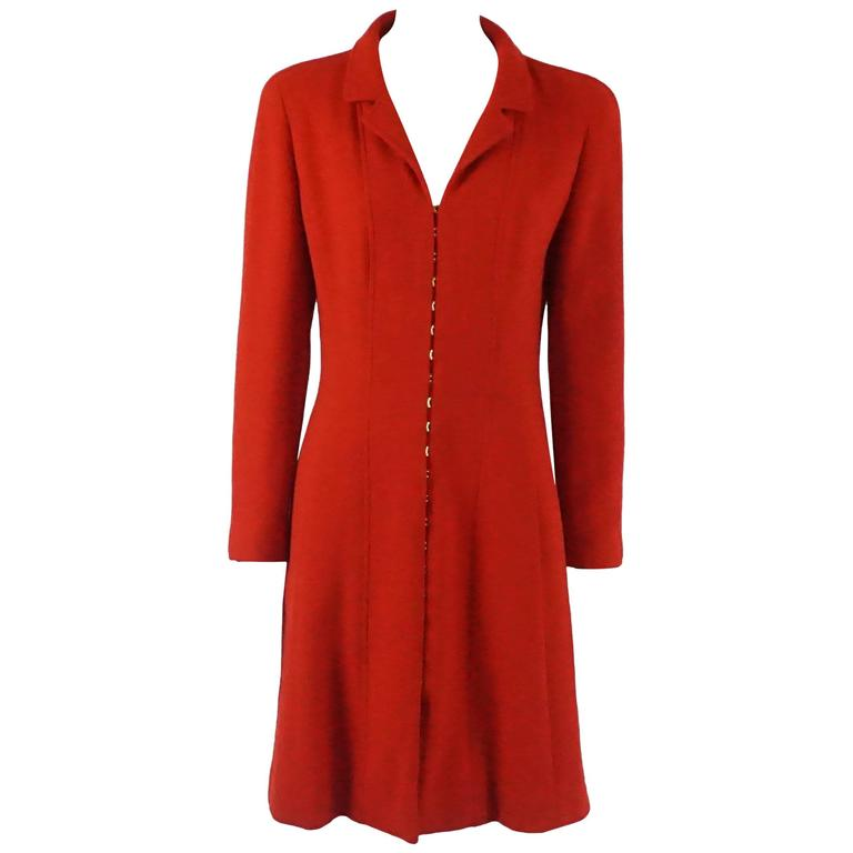Chanel Red Double Faced Wool Coat Dress - 40 - 96A