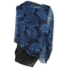 Junya Watanabe Comme des Garcons Blue and Black Lace Top - S