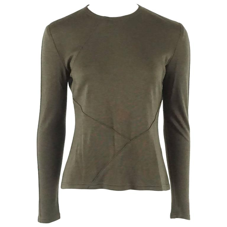 Chado Ralph Rucci Army Green Silk Jersey Long Sleeve Top - 8