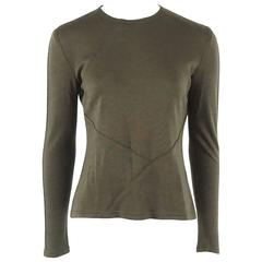 Chado Ralph Rucci Army Green Silk Jersey Long Sleeve Top - 8