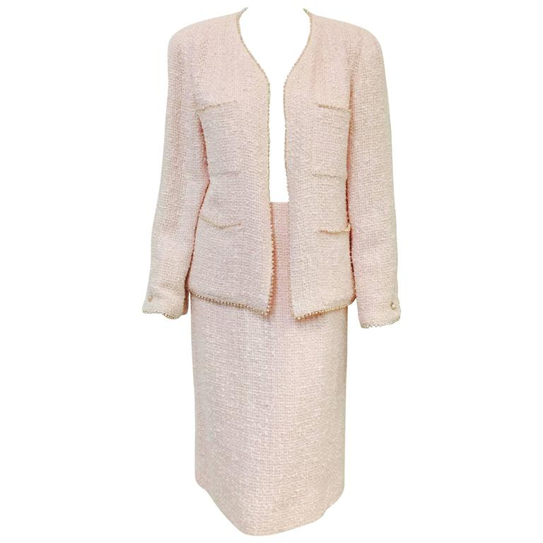 Spring 1999 Chanel Blush Pink Boucle Tweed Skirt Suit/Freshwater Pearl Trim